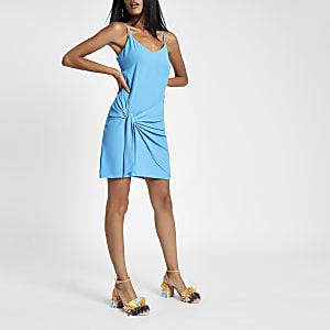 Blue tie front cami slip dress