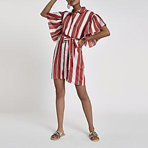 Pink stripe cold shoulder frill shirt dress