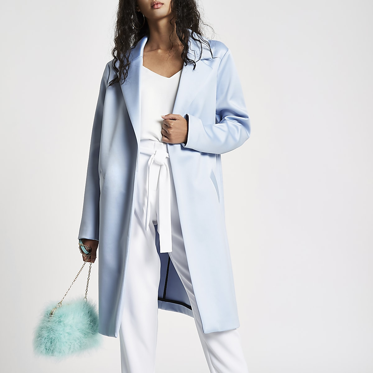 vast selection 2018 shoes Clearance sale Light blue satin tailored coat