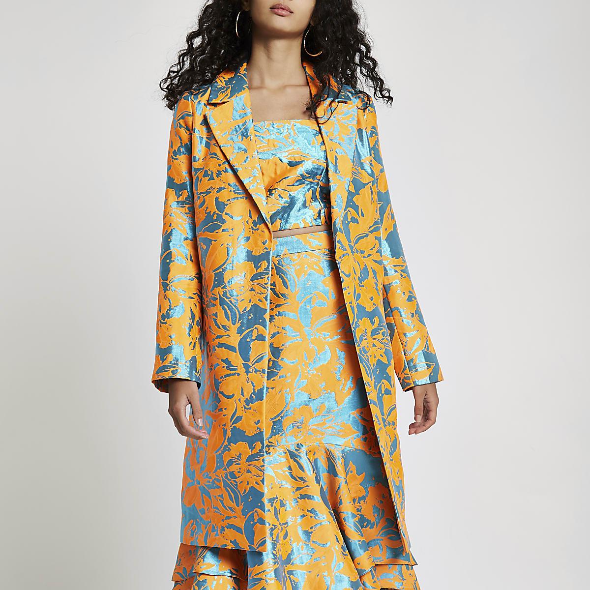 Orange jacquard open front coat