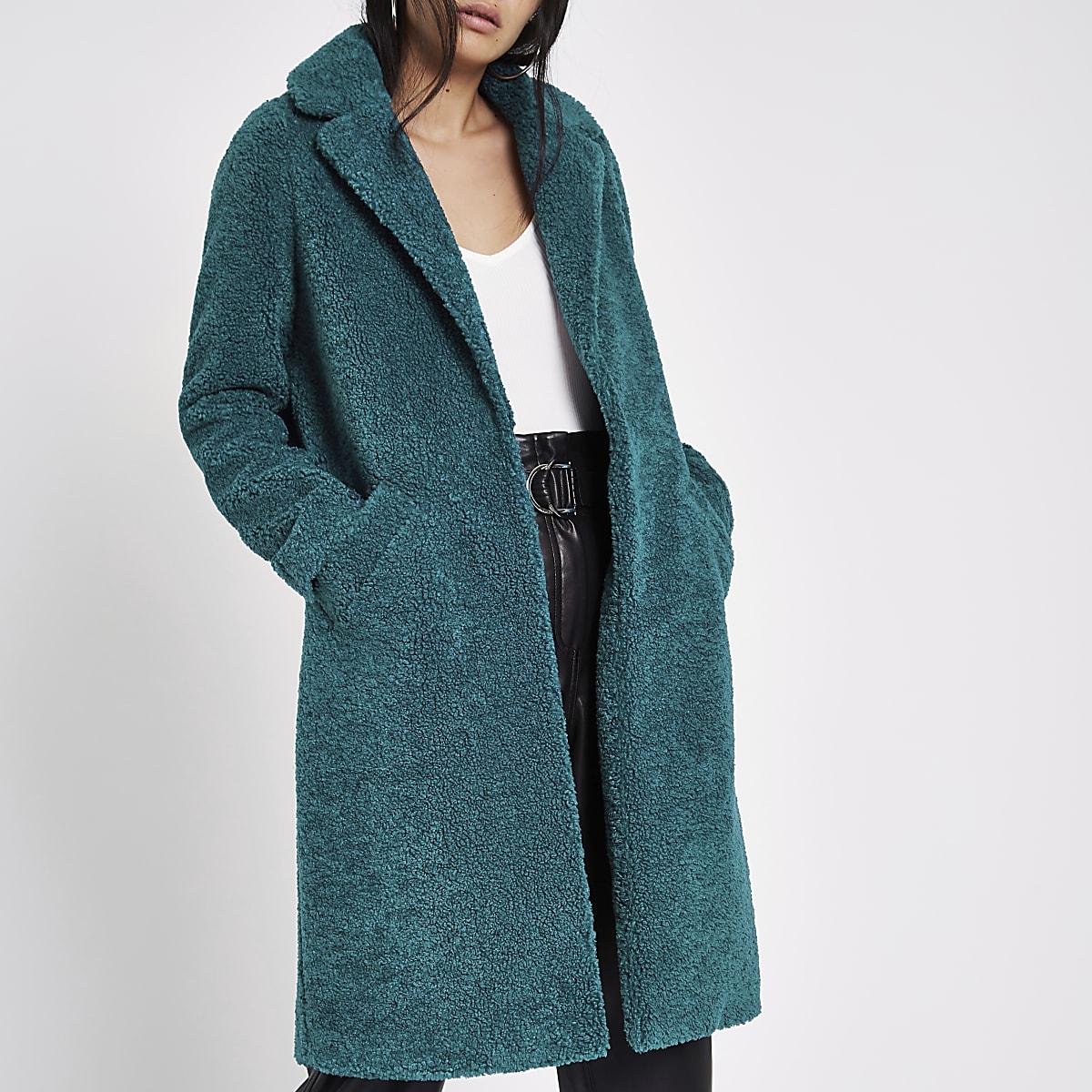 Teal green borg coat