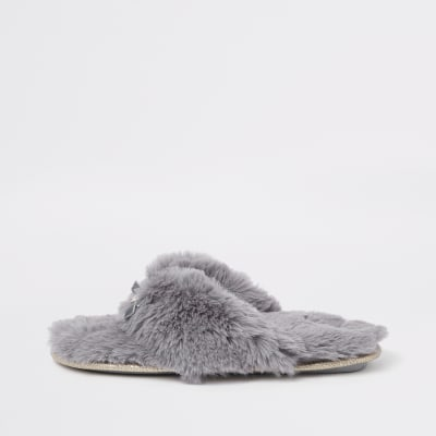 1ee8afcc9b5f Grey faux fur flip flop slippers - Winter Warmers - Gifts - women