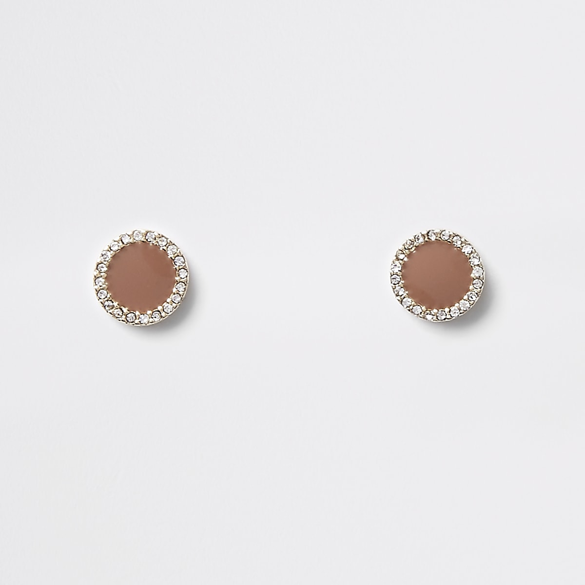 Brown mini round diamante stud earrings