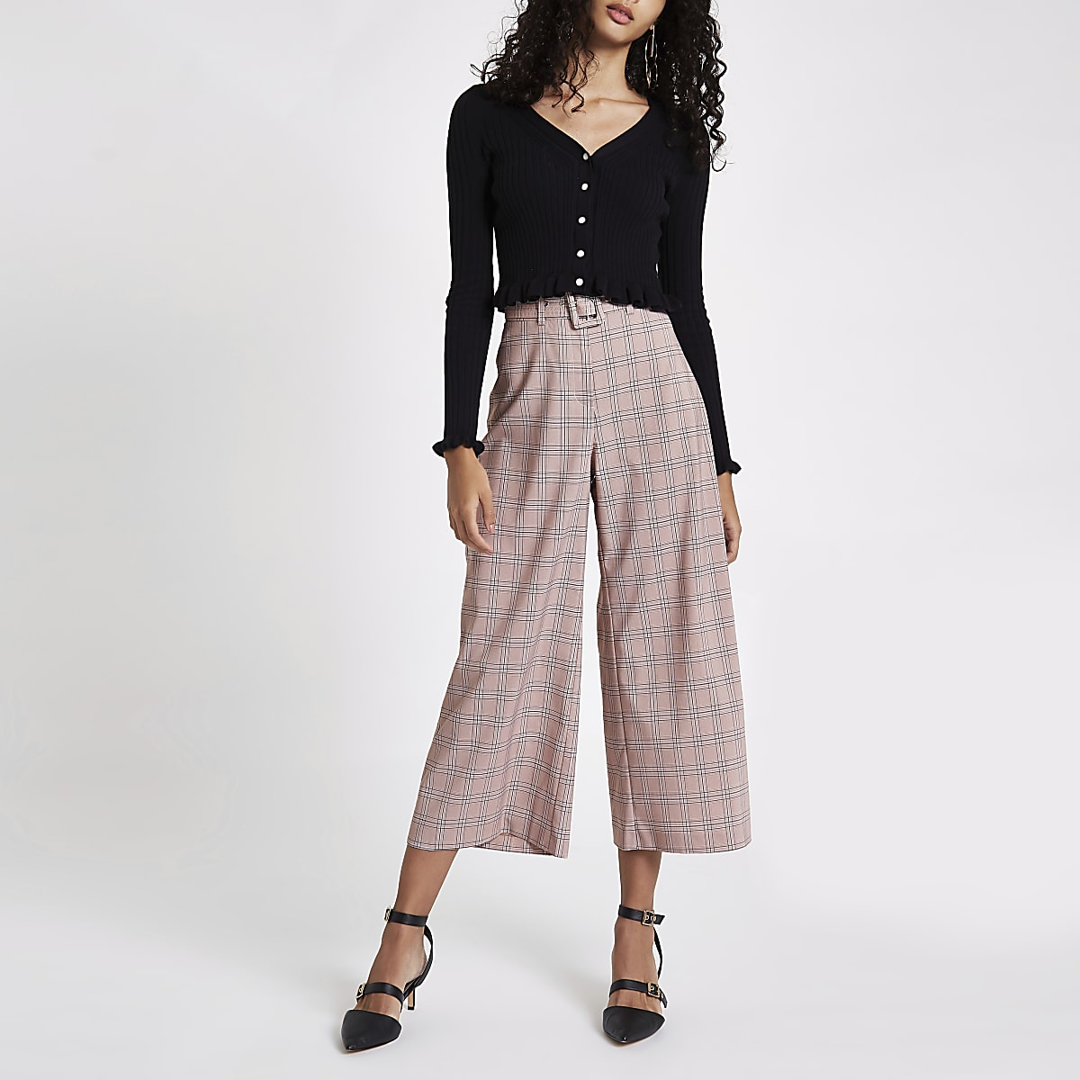 Pink check wide leg belted culottes