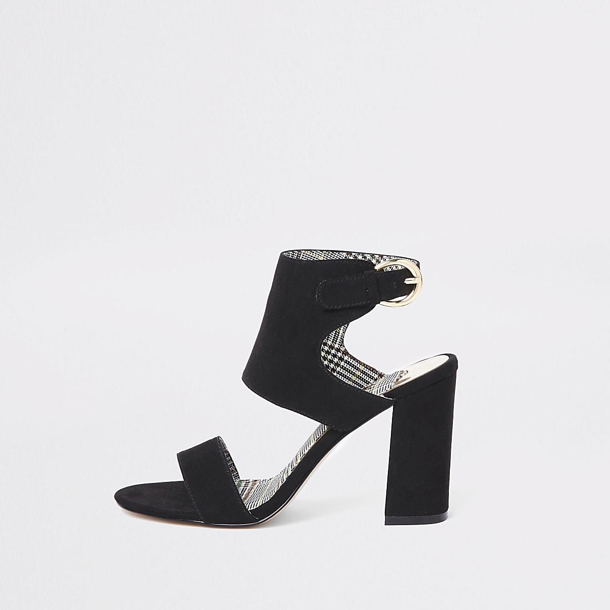 2638f4d85c1 Black wide fit faux suede block heel sandals - Sandals - Shoes   Boots -  women