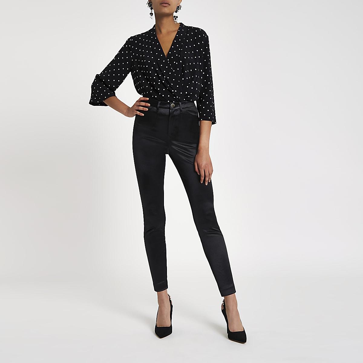 Zwarte skinny discobroek met hoge taille