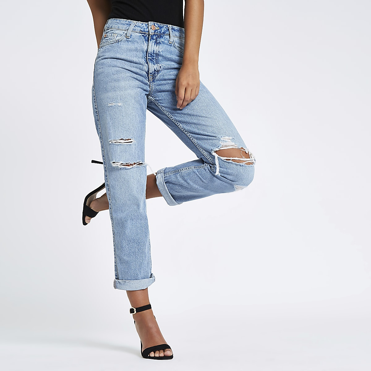 Mid blue high rise mom fit ripped jeans
