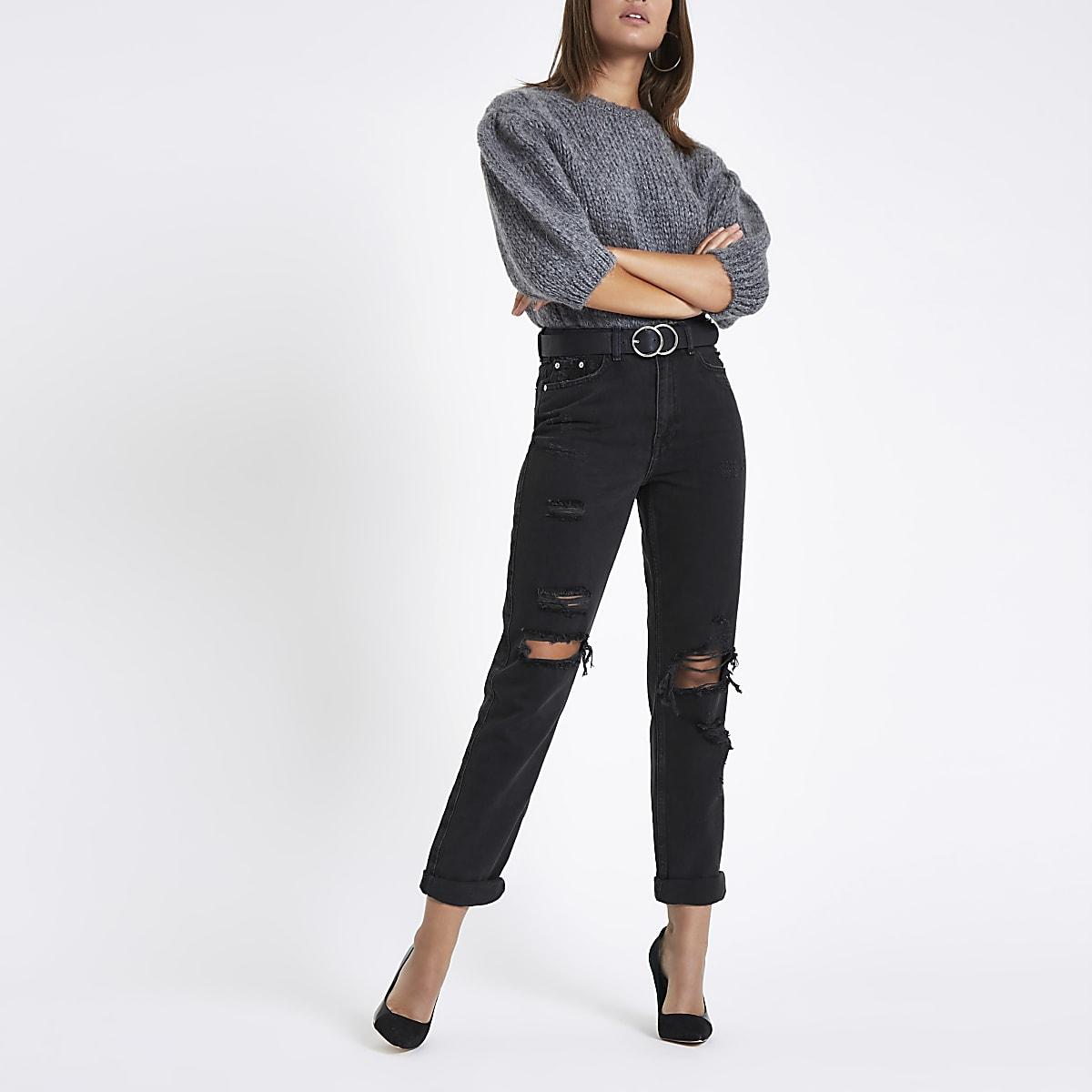 7c20617bf8 Pantalon déchiré coupe mom taille haute noir - Jeans Mom - Jeans - Femme