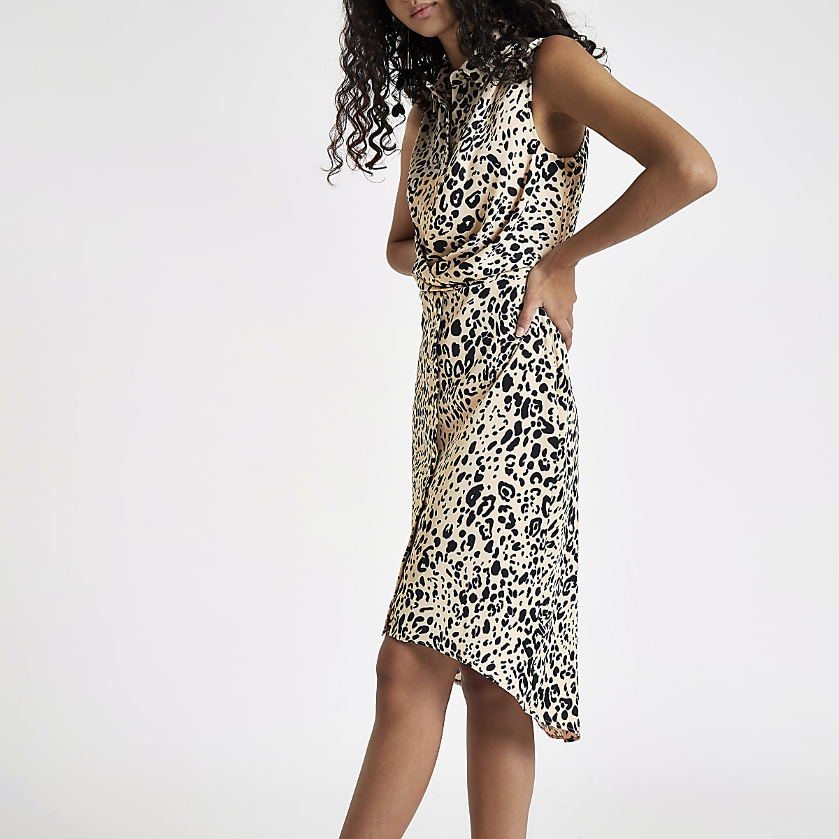 White leopard print wrap shirt dress