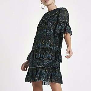 Green floral print sequin swing dress