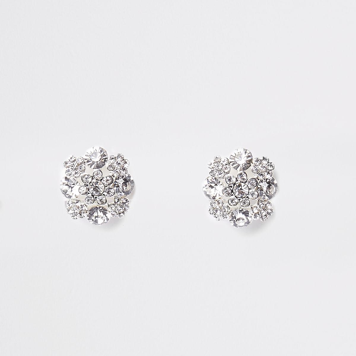 White diamante clip on earrings