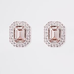 Light pink jewel embellished clip on earrings