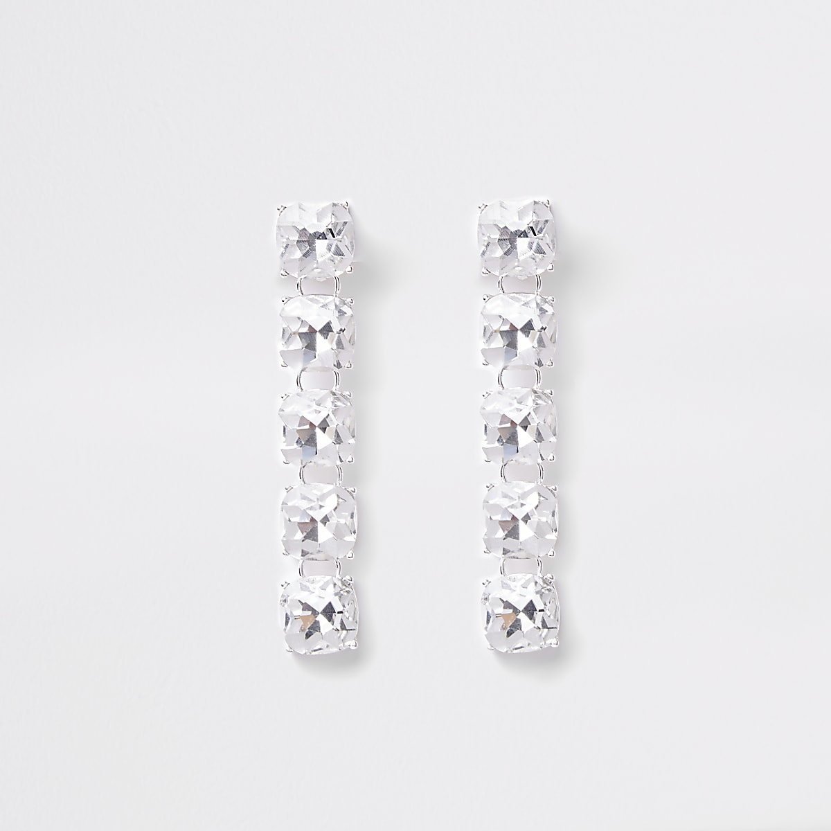 Silver tone diamante clip on drop earrings