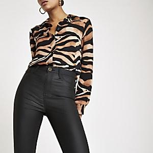 Harper – Schwarze, beschichtete Skinny Jeans