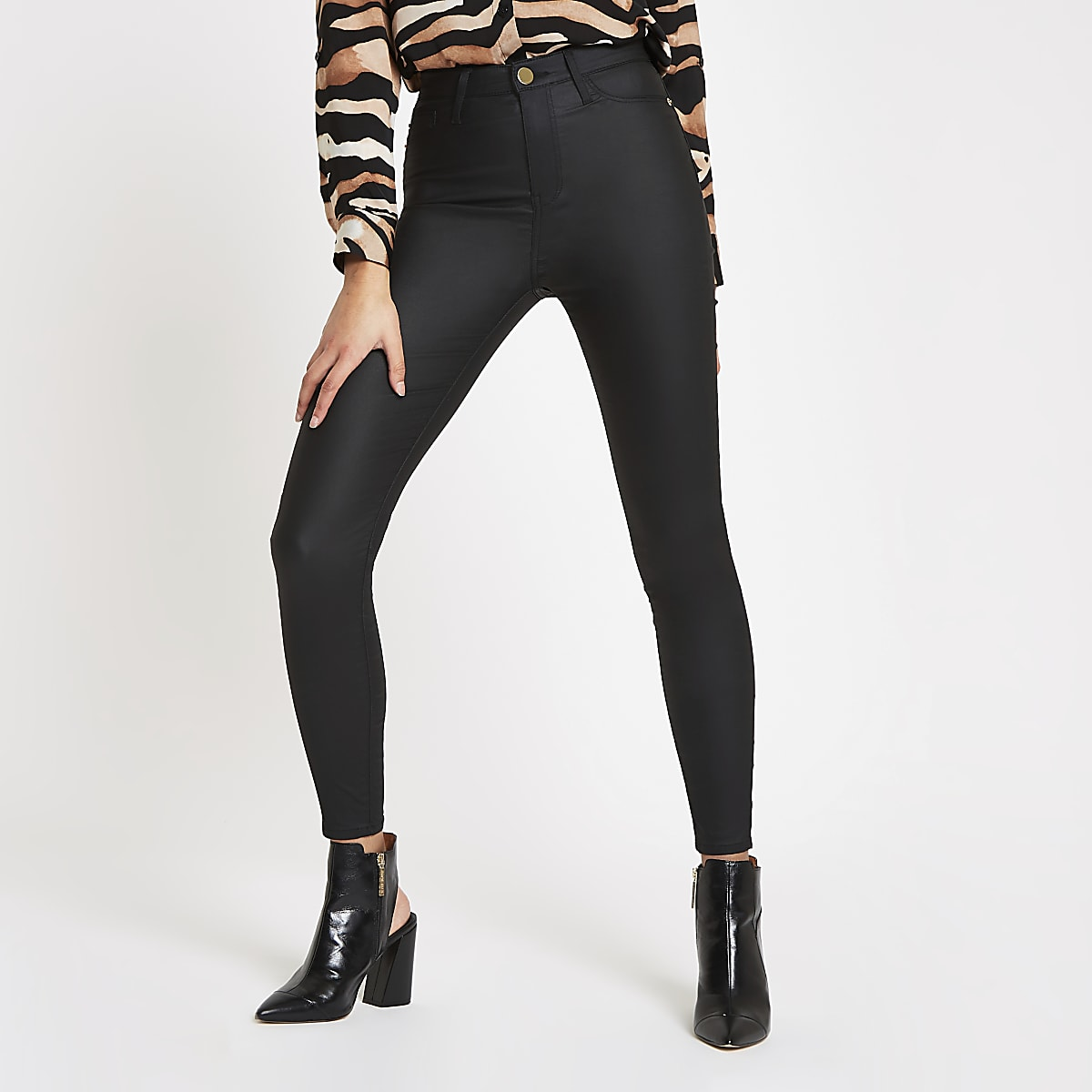 top quality wide range limited guantity Black Harper coated high rise skinny jeans