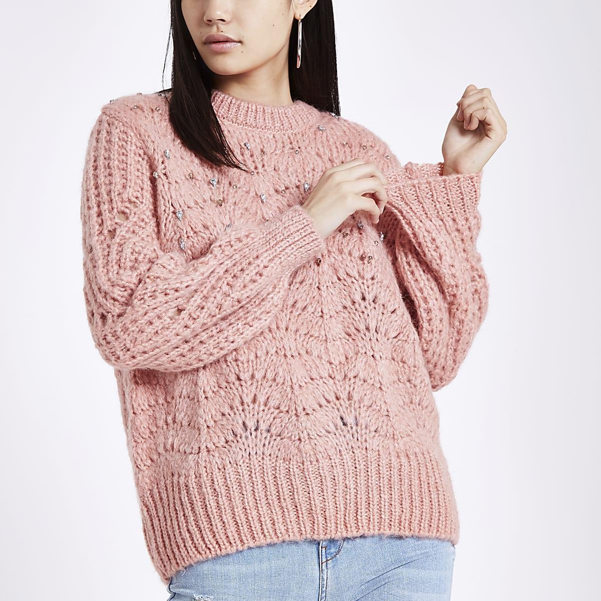 Pink knit crew neck embellished jumper
