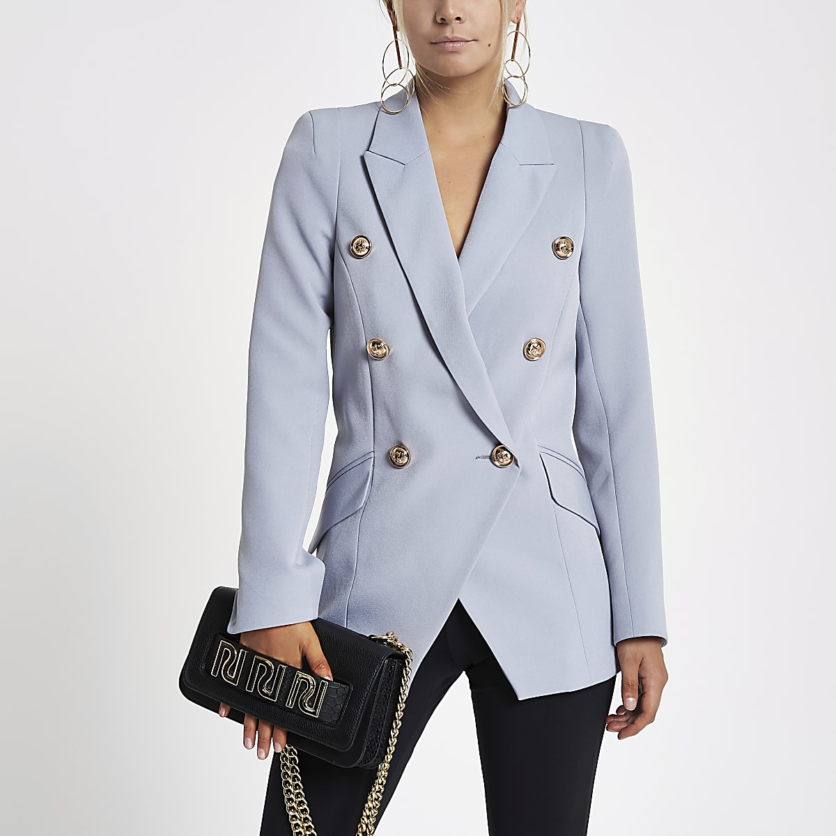 Petite blue double breasted tux jacket