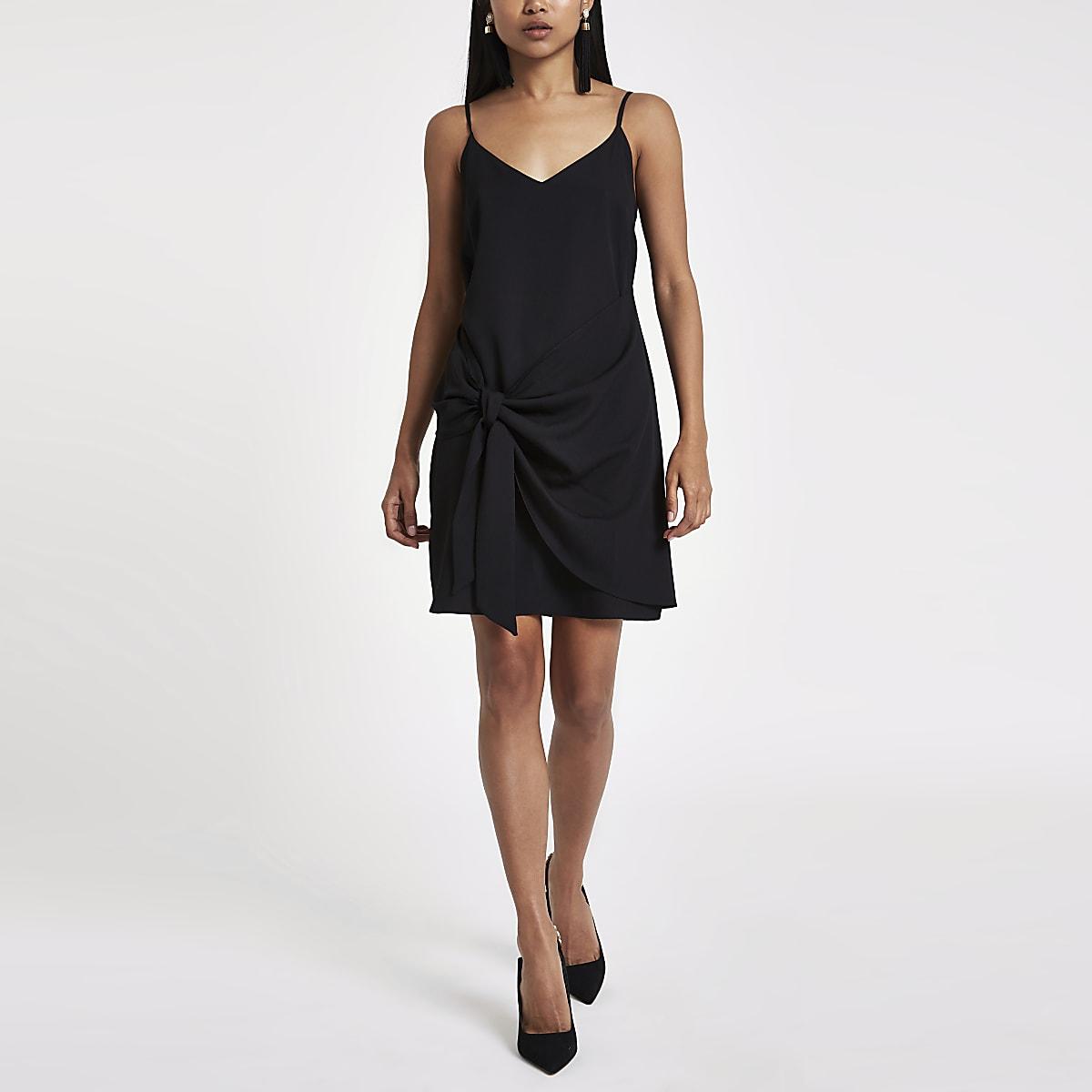 Petite black tie front cami slip dress