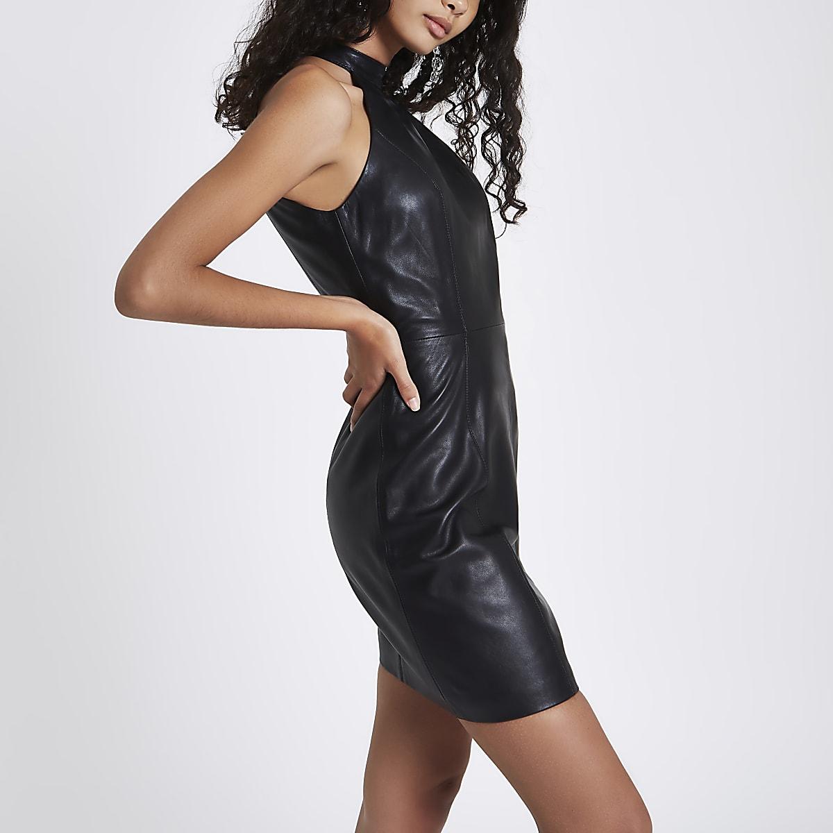 Black leather A line choker neck mini dress