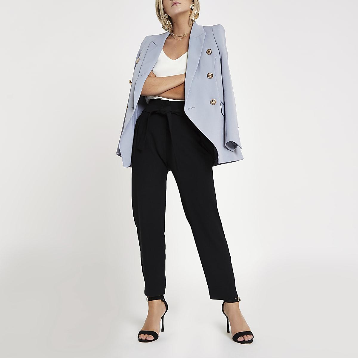 Petite black tie waist tapered leg trousers