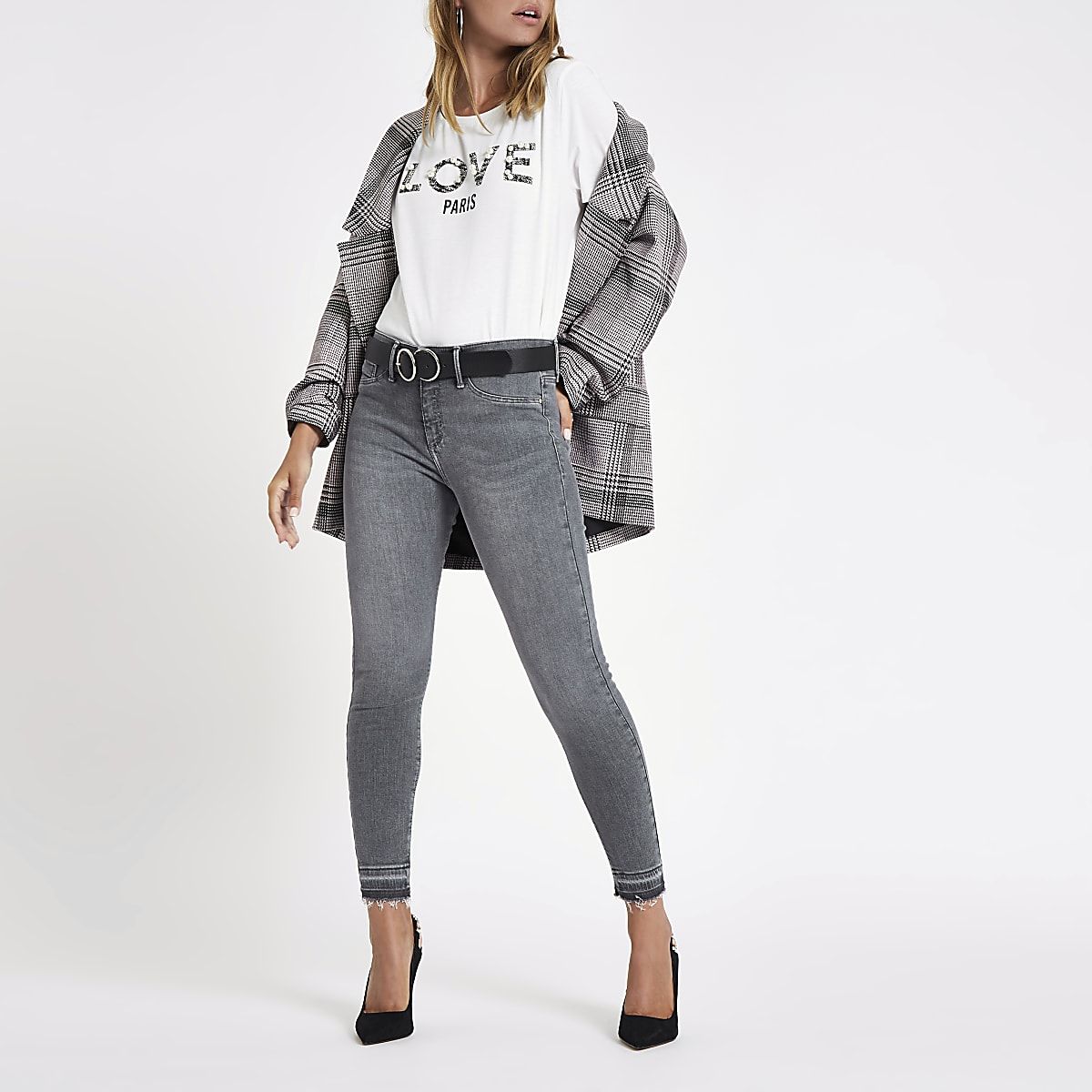 Petite grey Molly mid rise jeggings