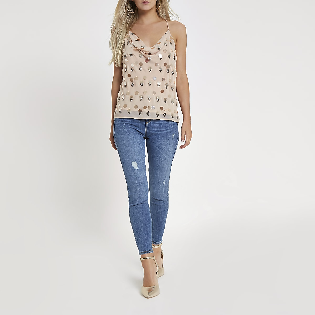 Petite pink sequin and bead embellished cami