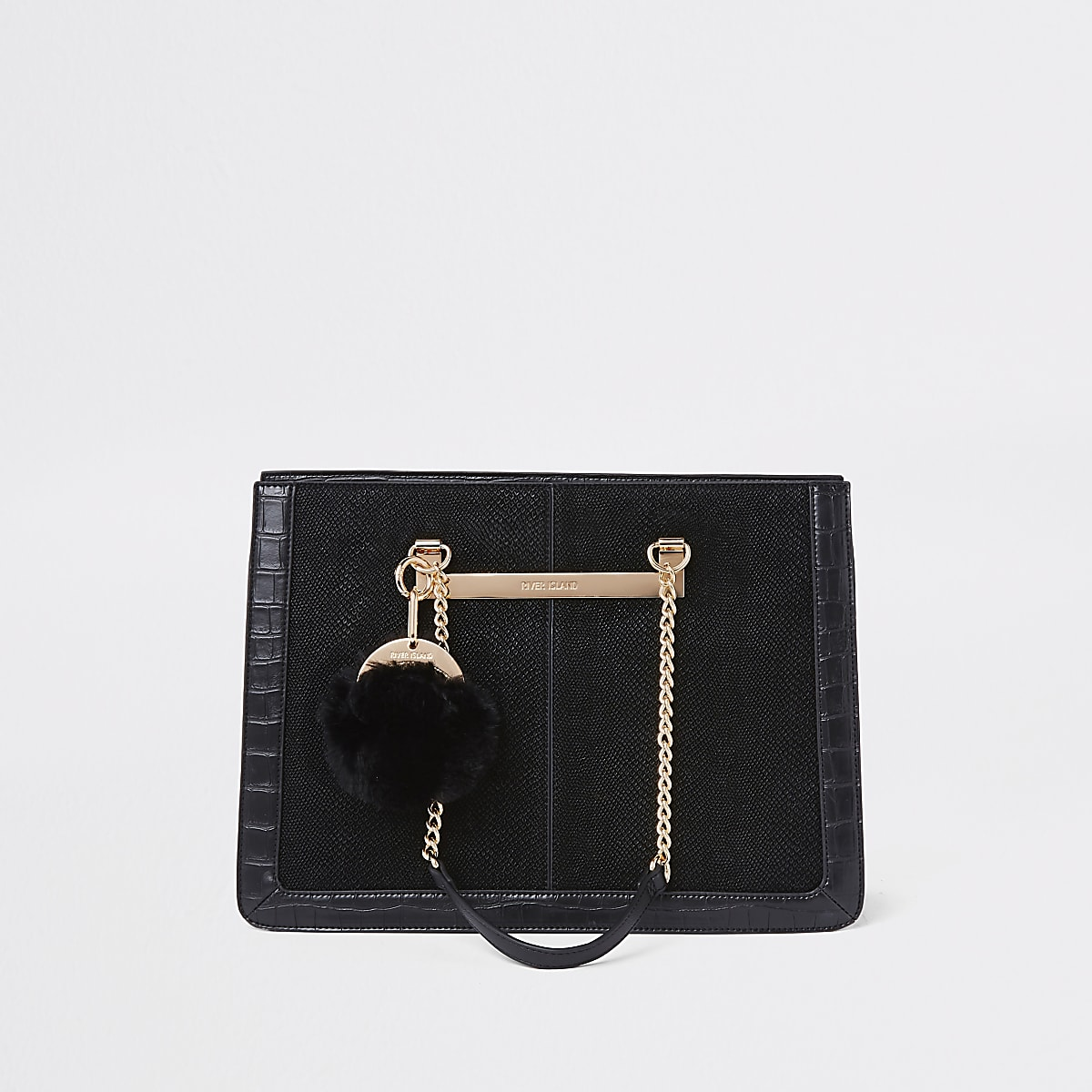 Cabas noir avec poignée chaîne et pompon