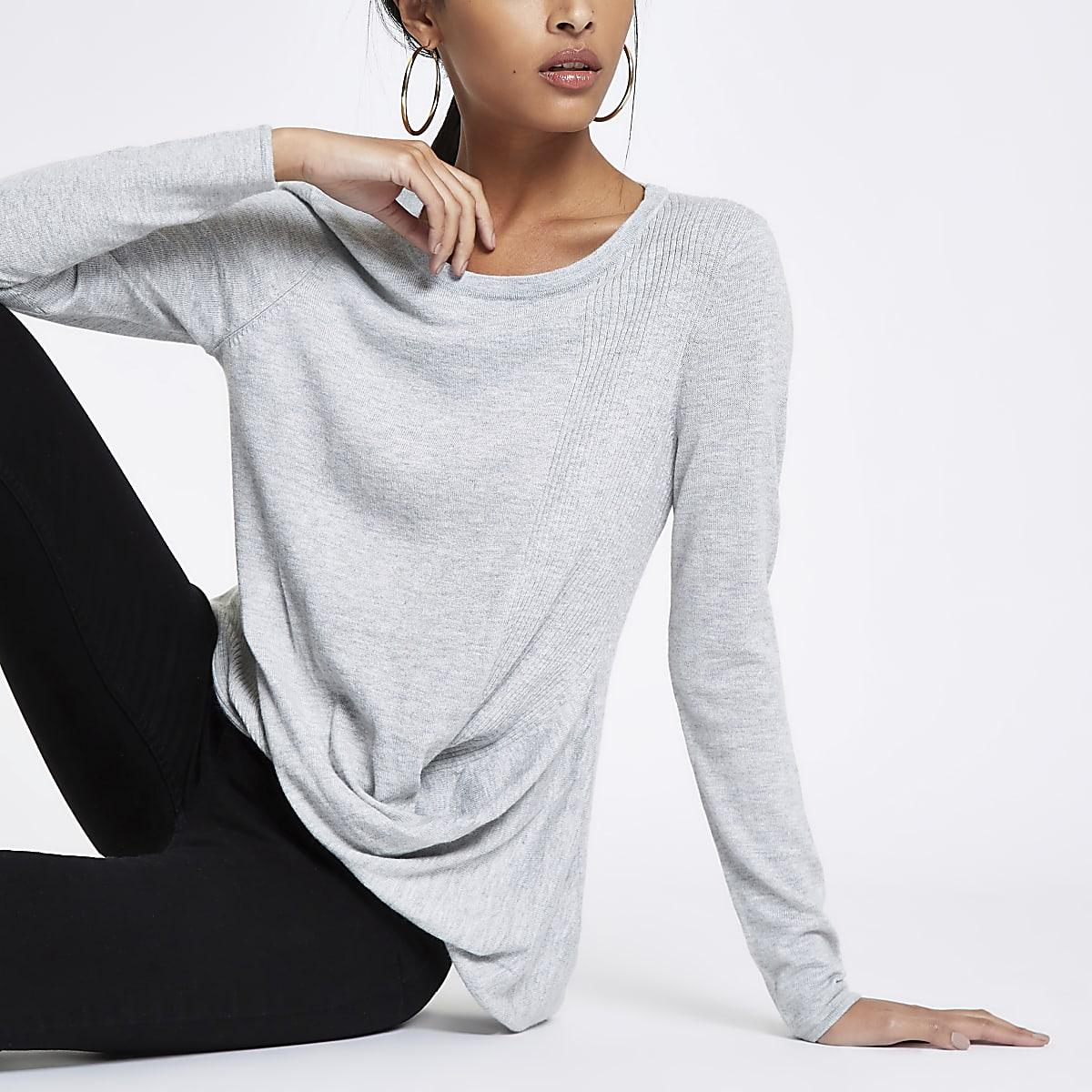 Grey twist front top
