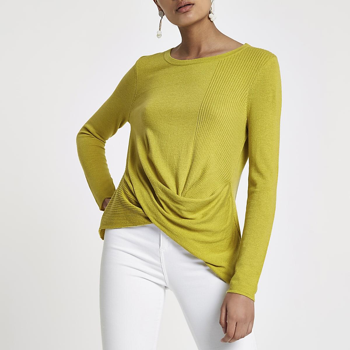 Top vert citron torsadé sur le devant