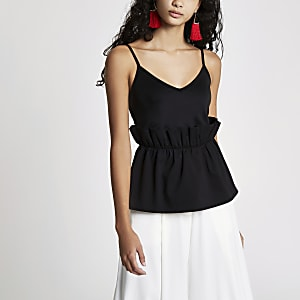 Black paperbag waist cami top