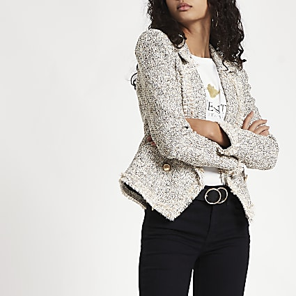 Cream check print boucle jacket