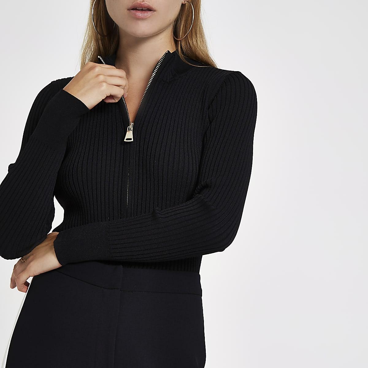 82c78caef51b5 Black knit rib zip through top - Knit Tops - Knitwear - women
