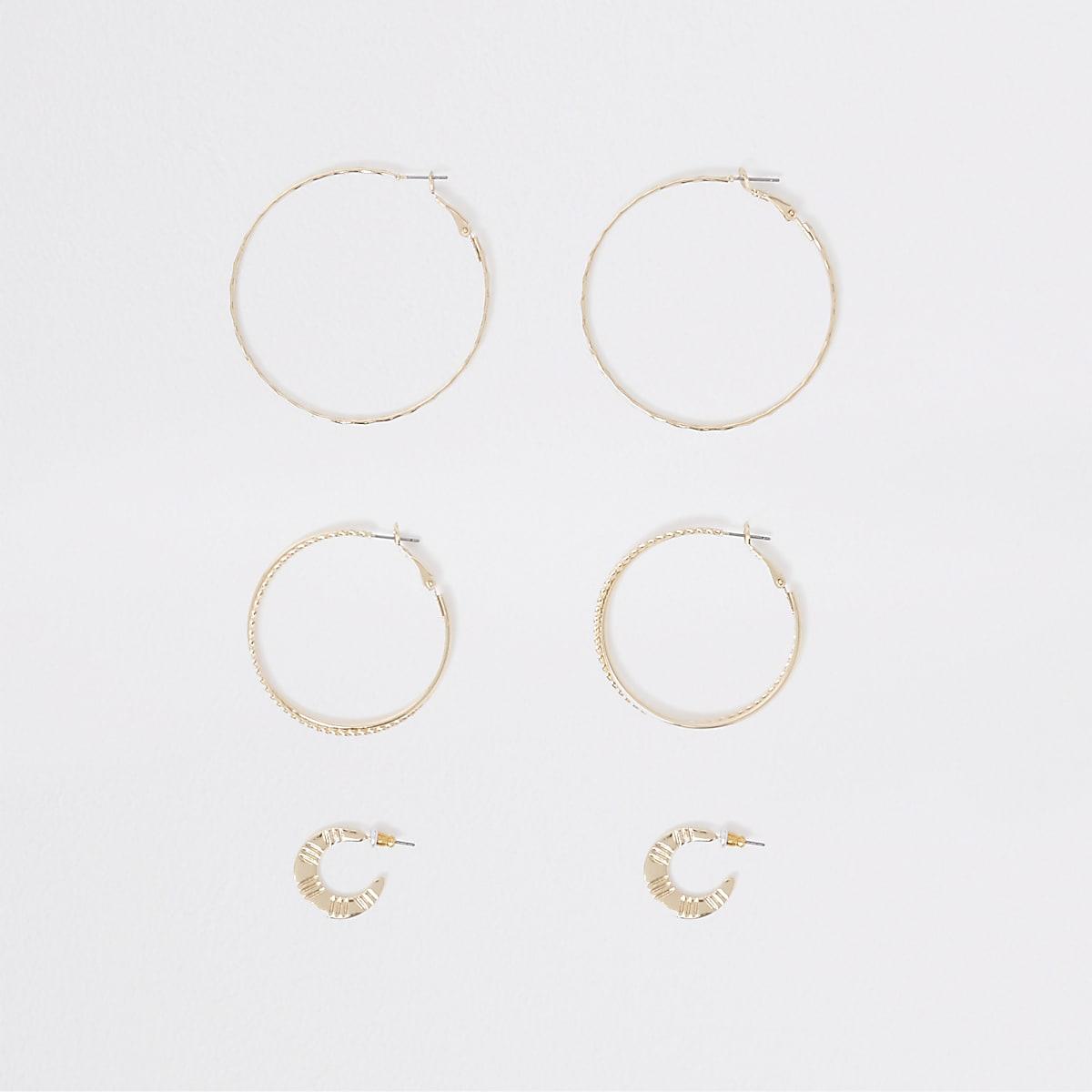 Gold tone hoop earring multipack