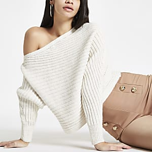 Cream knit asymmetric off shoulder sweater