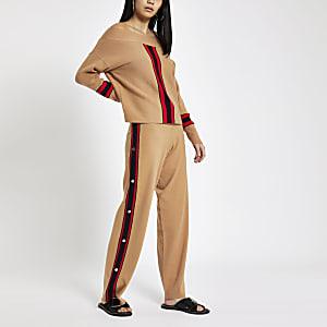 Brown knit wide leg popper side joggers