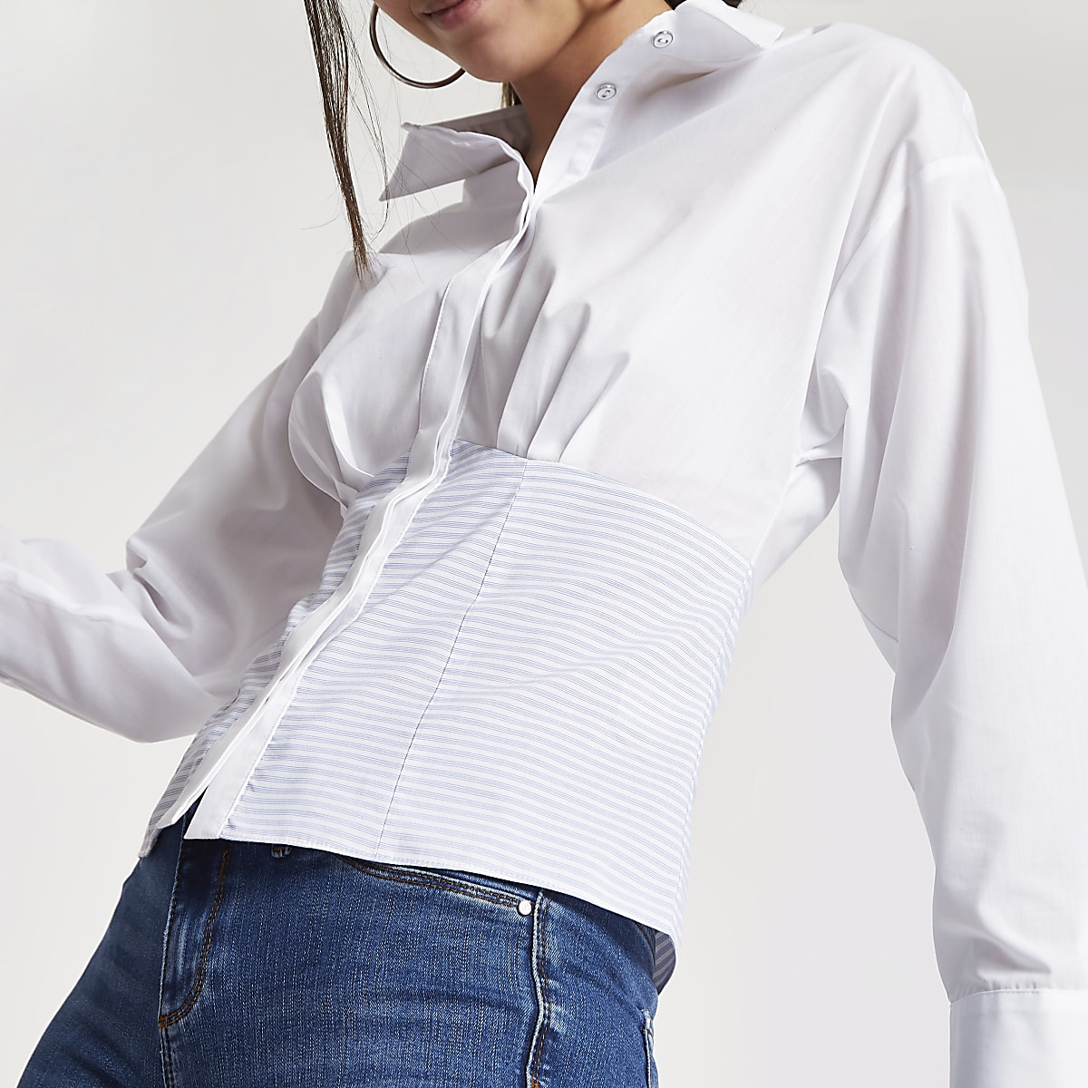 Blue stripe contrast fitted shirt