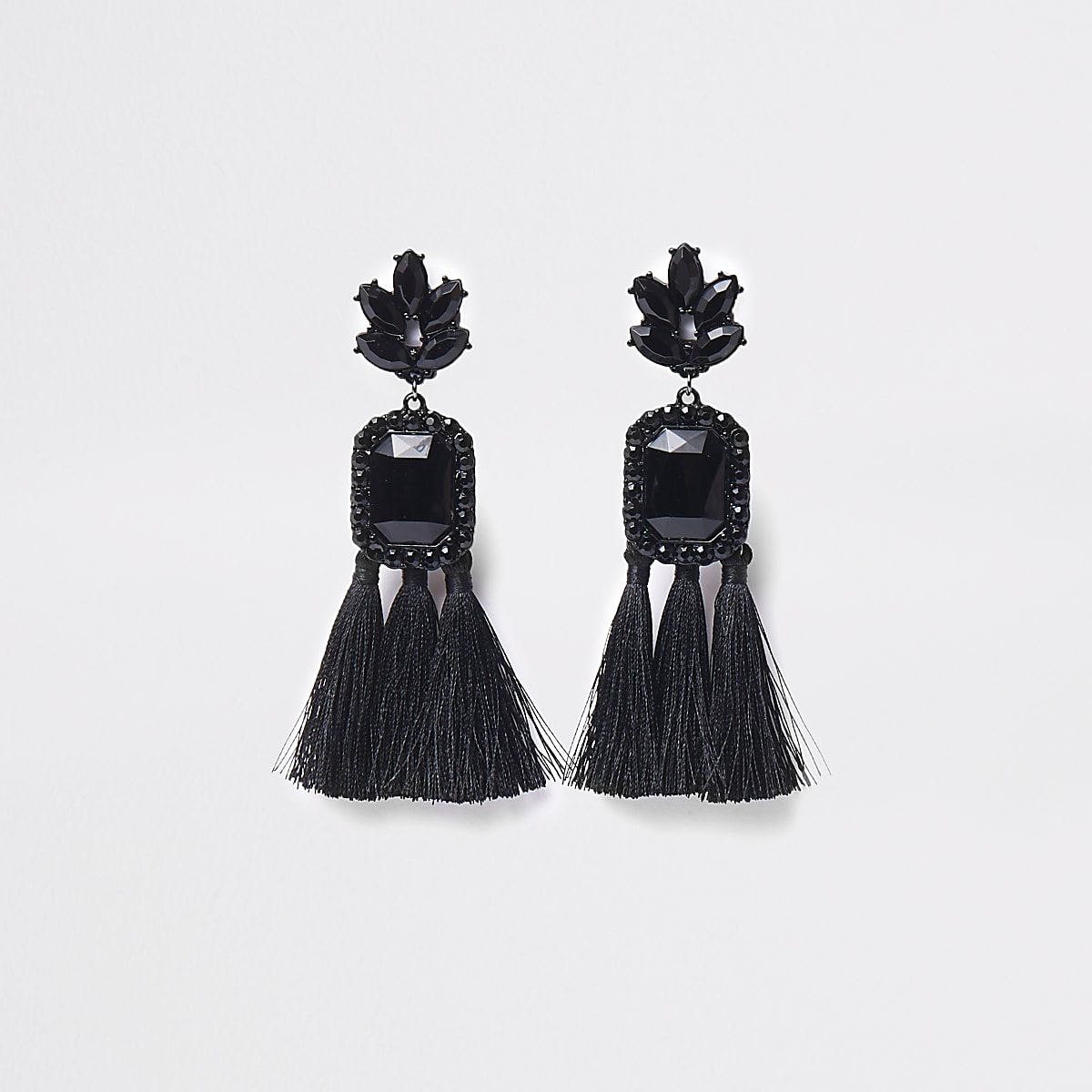 Black rectangle jewel tassel clip on earrings
