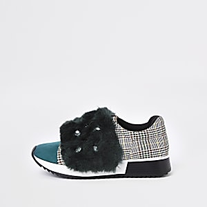 Green faux fur jewel embellished sneakers