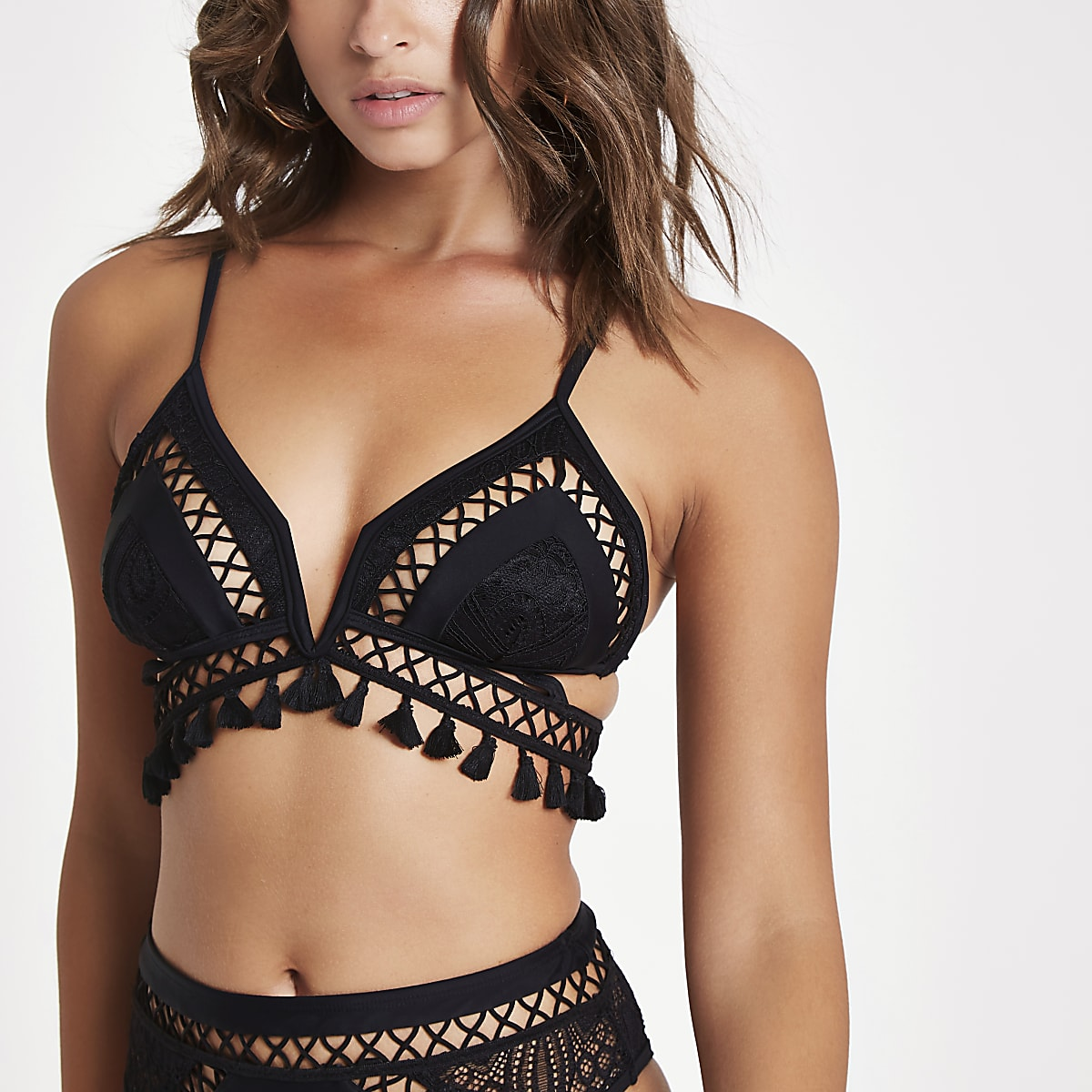Black crochet tassel triangle bikini top