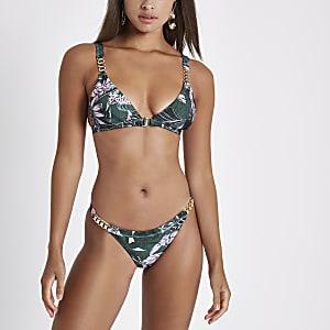 Green floral chain high leg bikini bottoms
