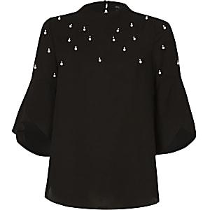 Black faux pearl embellished top