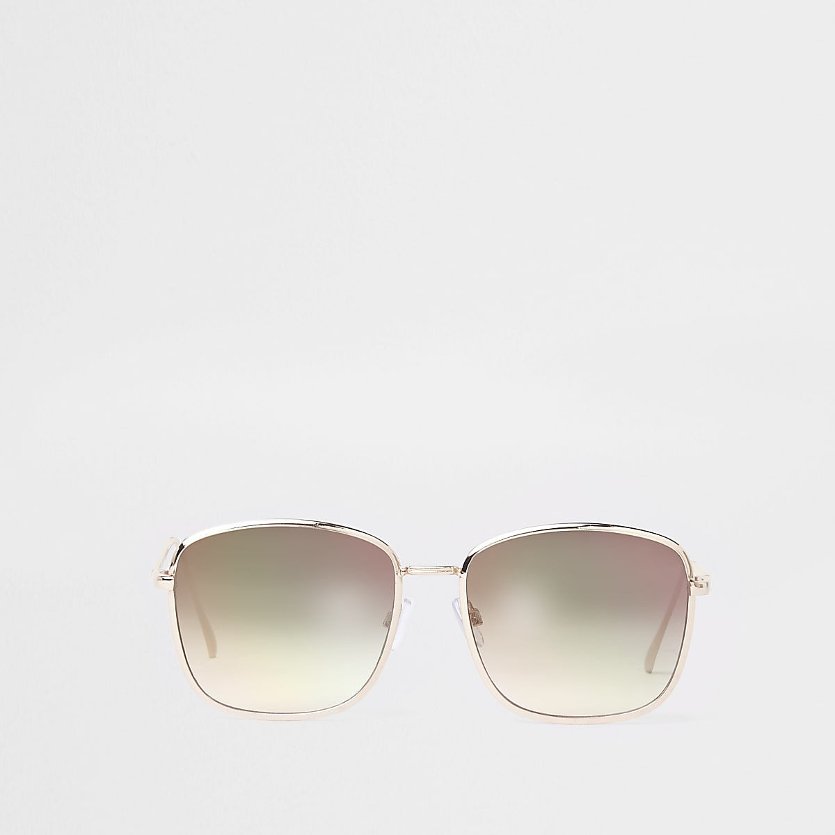 Goudkleurige pilotenzonnebril met vierkante roze glazen