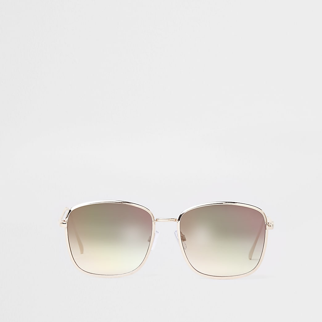 Lunettes de soleil aviateur carrées dorées à verres roses