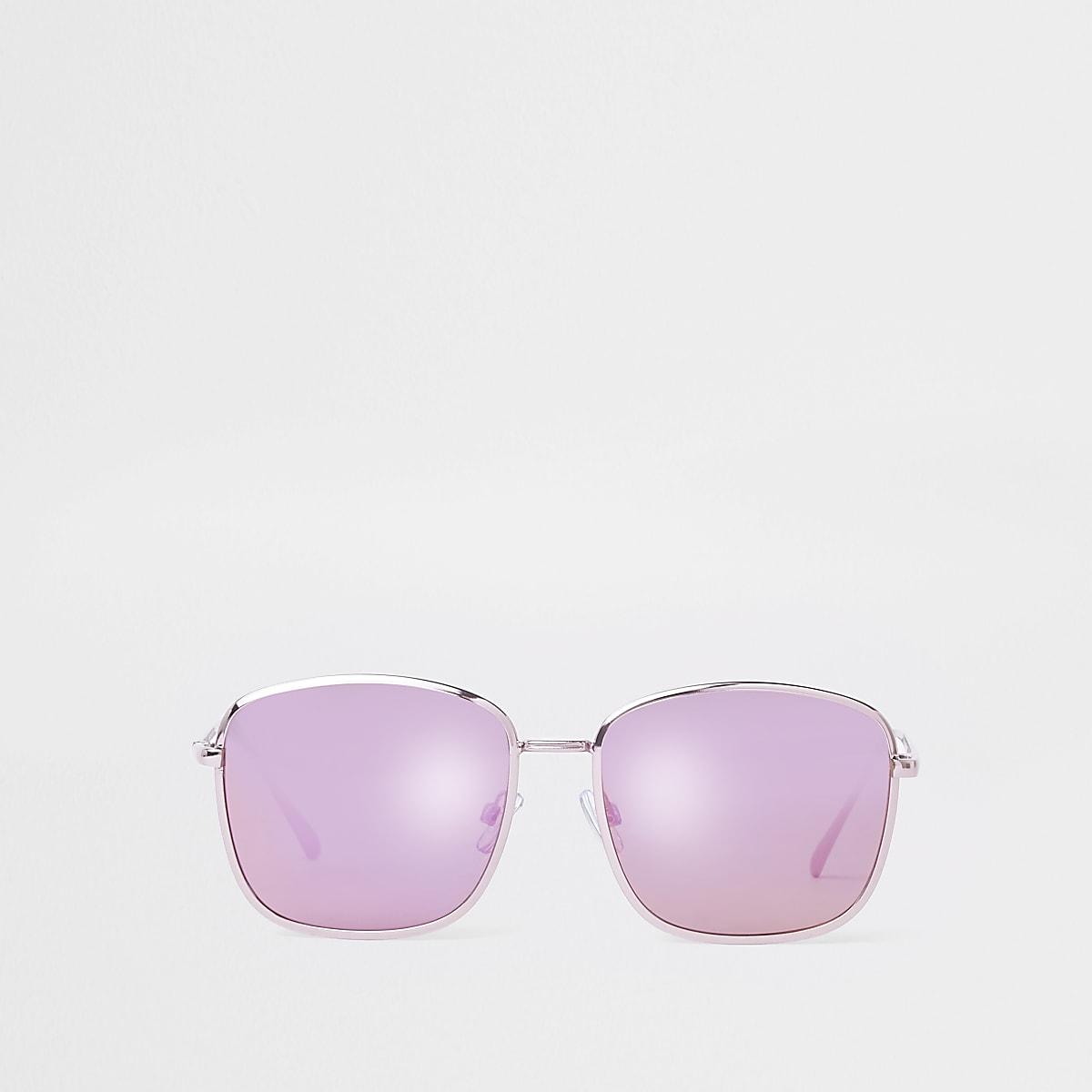 Pink square aviator sunglasses