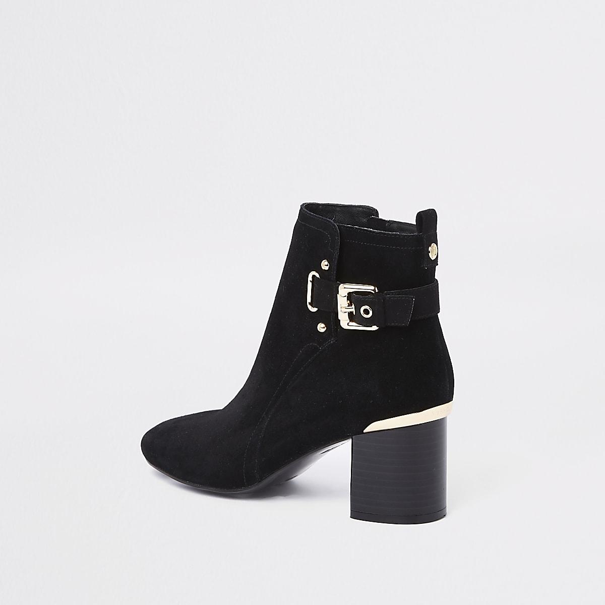 c14bebb90080 Black suede block heel ankle boots - Boots - Shoes   Boots - women