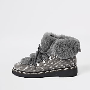 Grey check faux fur tri boots
