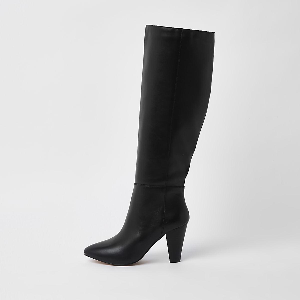 Black leather knee high block heel boots