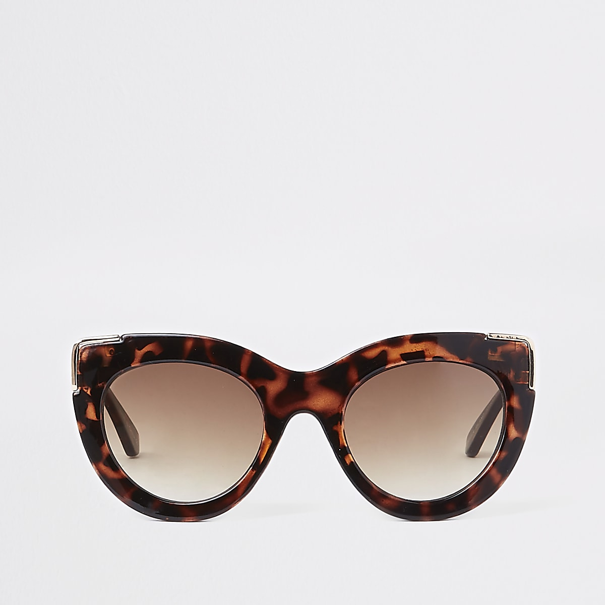 Brown tortoiseshell gold cat eye sunglasses