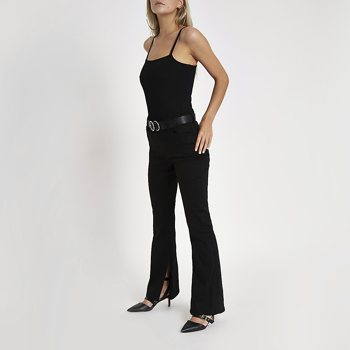 Petite black high rise flared jeans