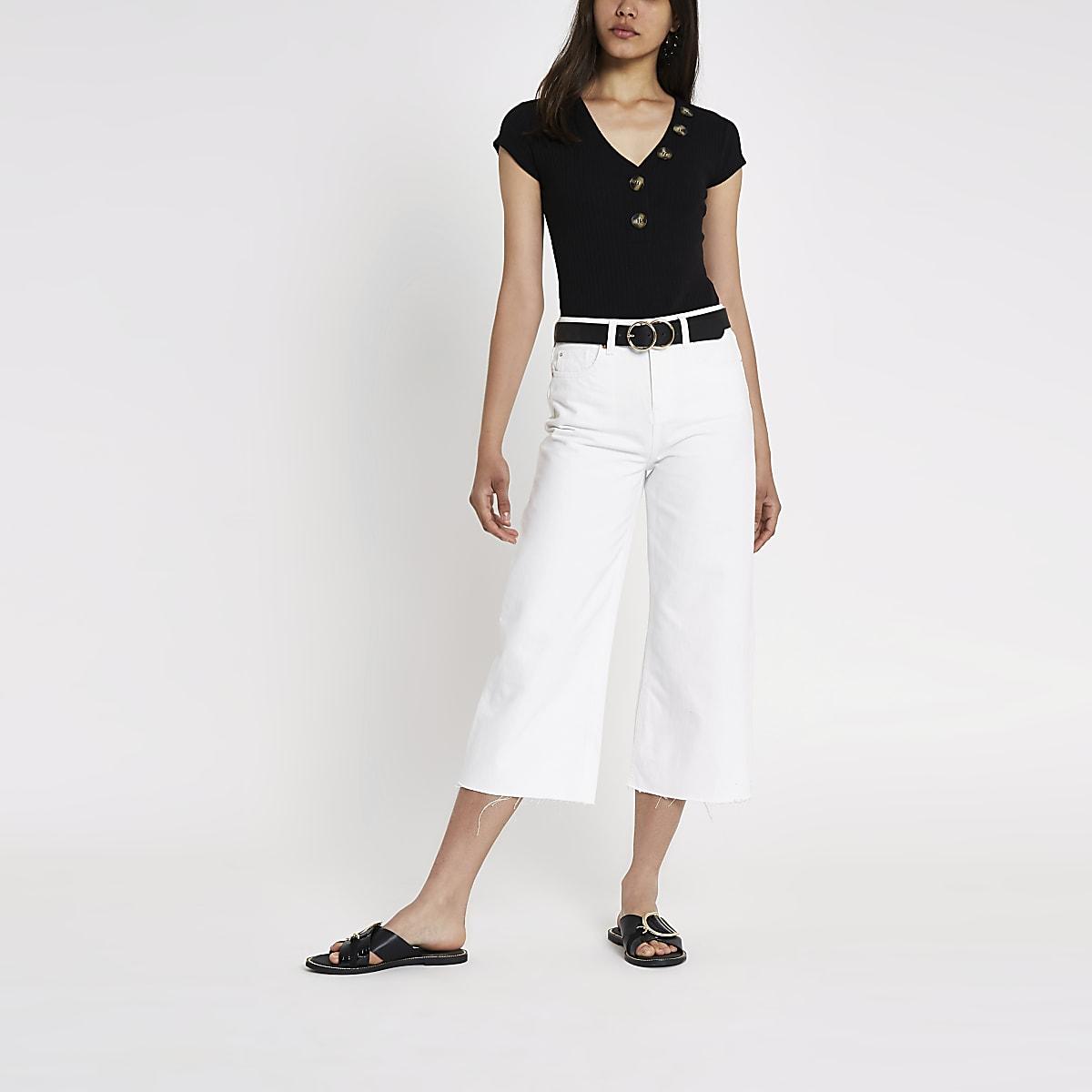 Black rib V neck button bodysuit